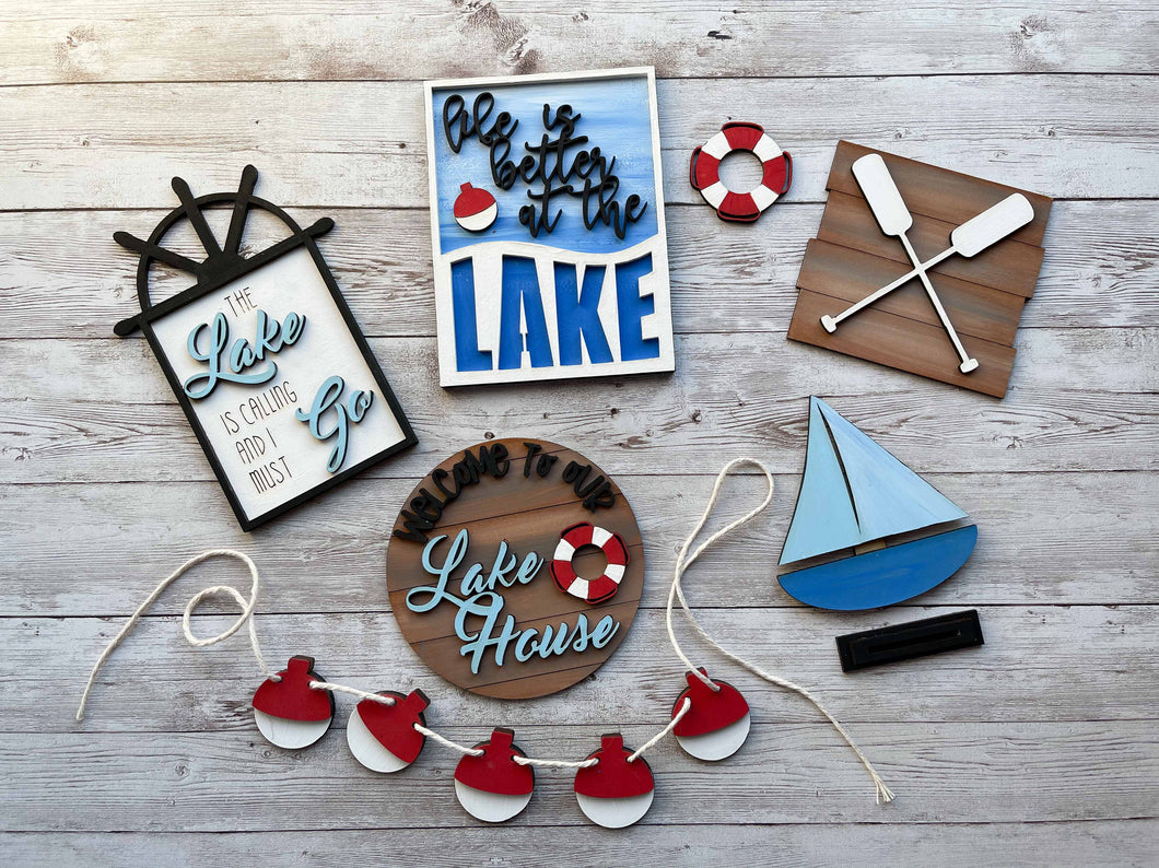 DIY Lake Tiered Tray Unfinished Paint Kit