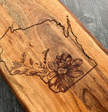 Load image into Gallery viewer, Custom Floral State Cutting Board