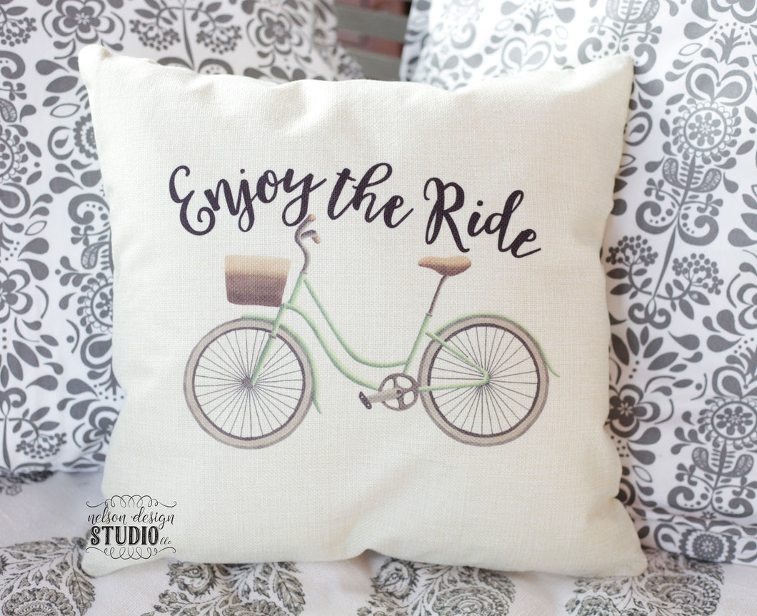 Enjoy the ride bicycle pillow