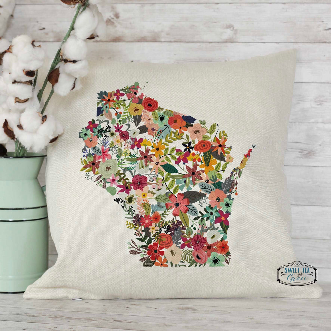 Custom State Floral Pillow