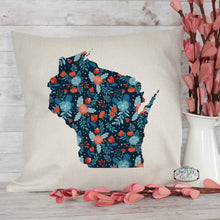 Load image into Gallery viewer, Navy Floral Custom State Throw Pillow