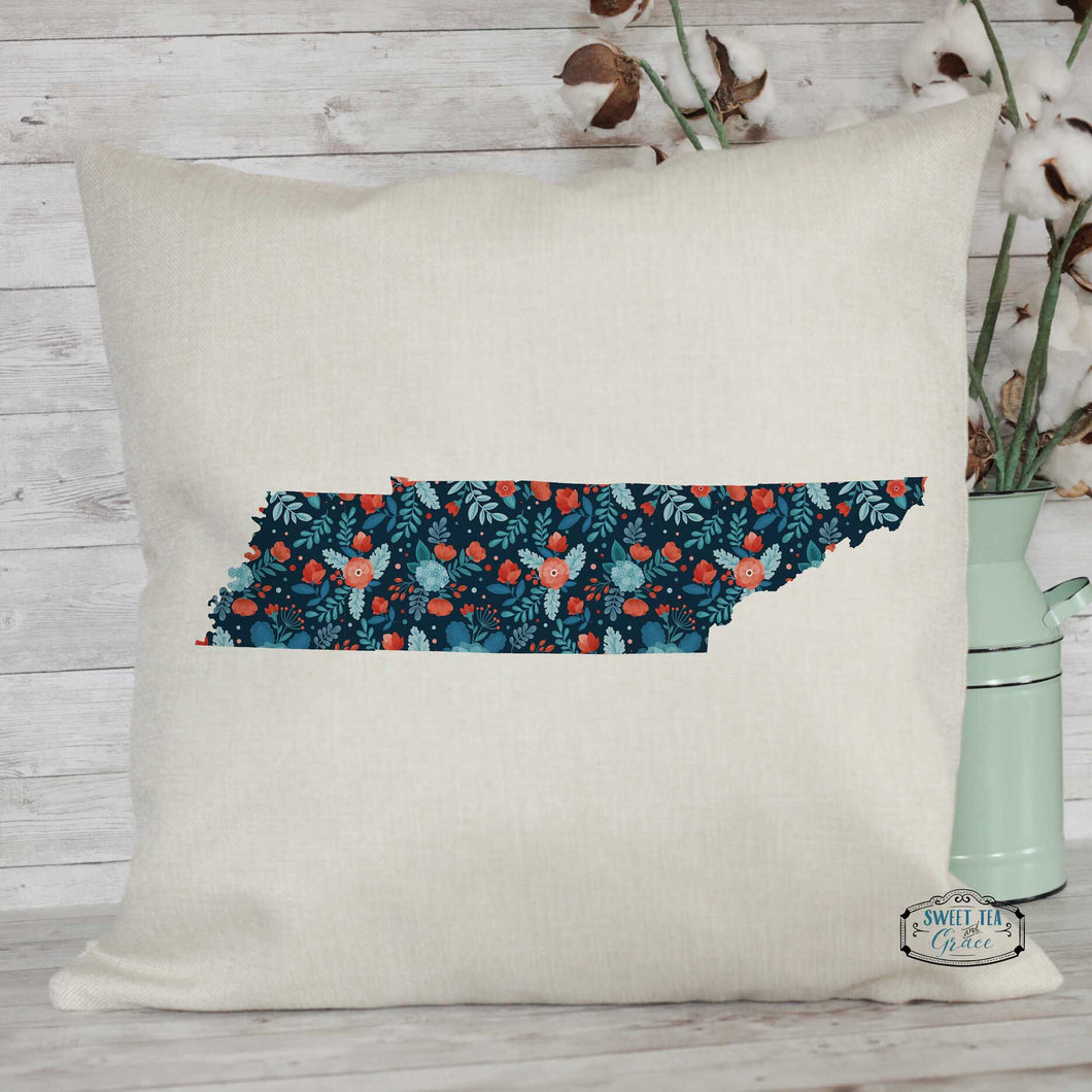 Navy Floral Custom State Throw Pillow