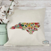 Load image into Gallery viewer, Custom State Floral Pillow