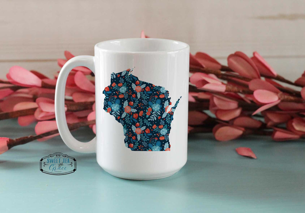 Navy and Red Floral Custom State Coffee Mug