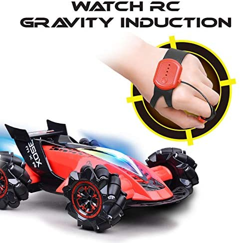 High Speed Racer RC Car for Kids & Adults, 2.4 GHz Fast Rechargeable Toy Cars with Gesture Induction, Rear Fog Mist, LED Light & Music(Red) Cars
