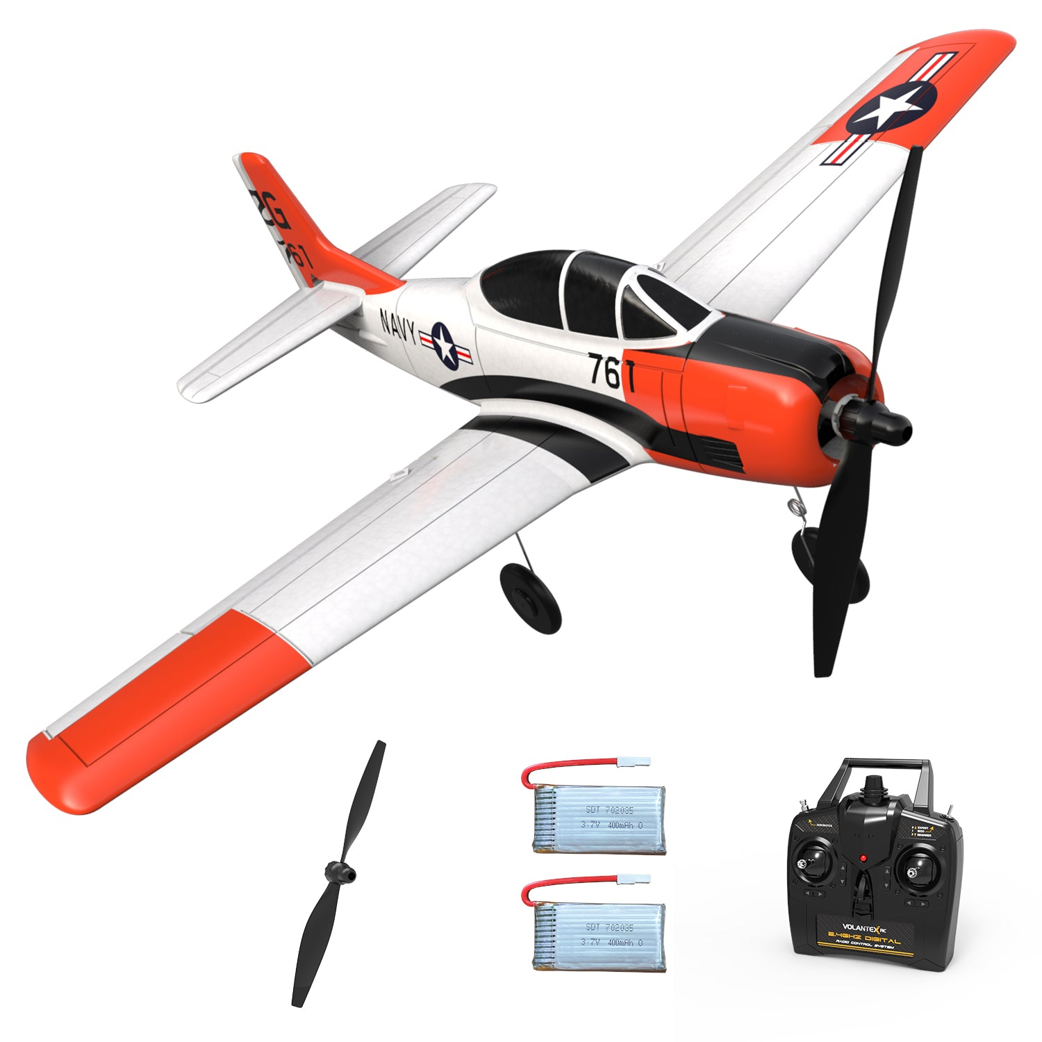 VOLANTEXRC T-28 Trojan 4CH Airplane with Xpilot Stabilizer - One-key Aerobatic RTF 761-9
