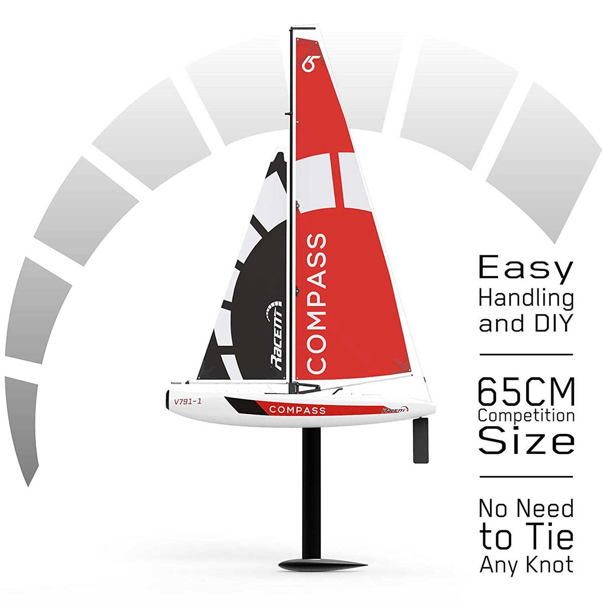 Compass 2 Channel Wind Power Sailboat with 650mm Hull for RG65 Class Competition (791-1) RTR Boats