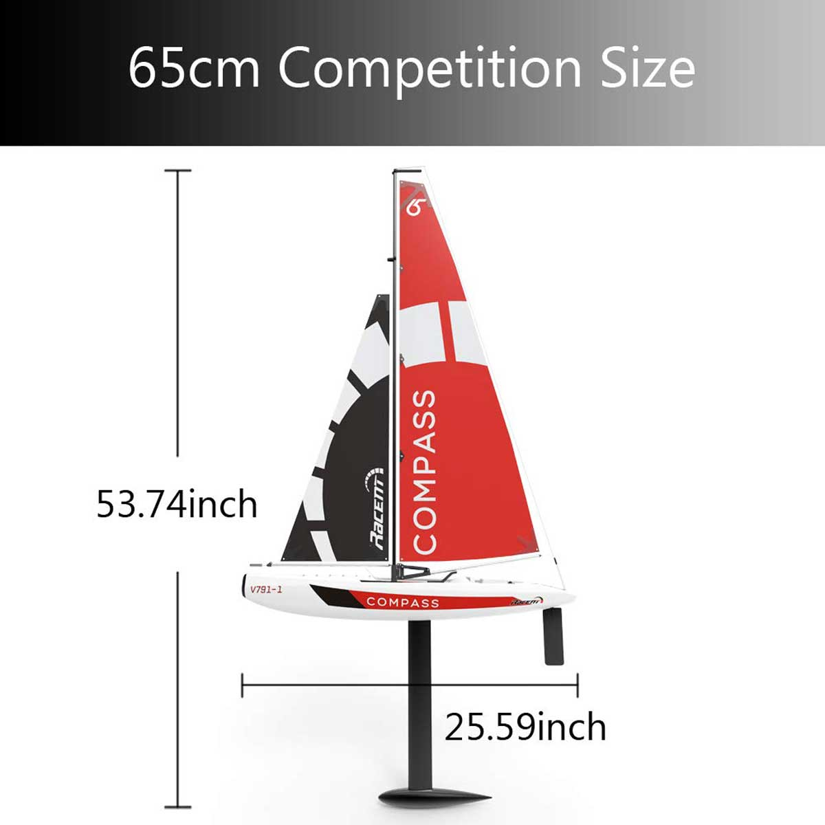 Compass 2 Channel Wind Power Sailboat with 650mm Hull for RG65 Class Competition (791-1) RTR