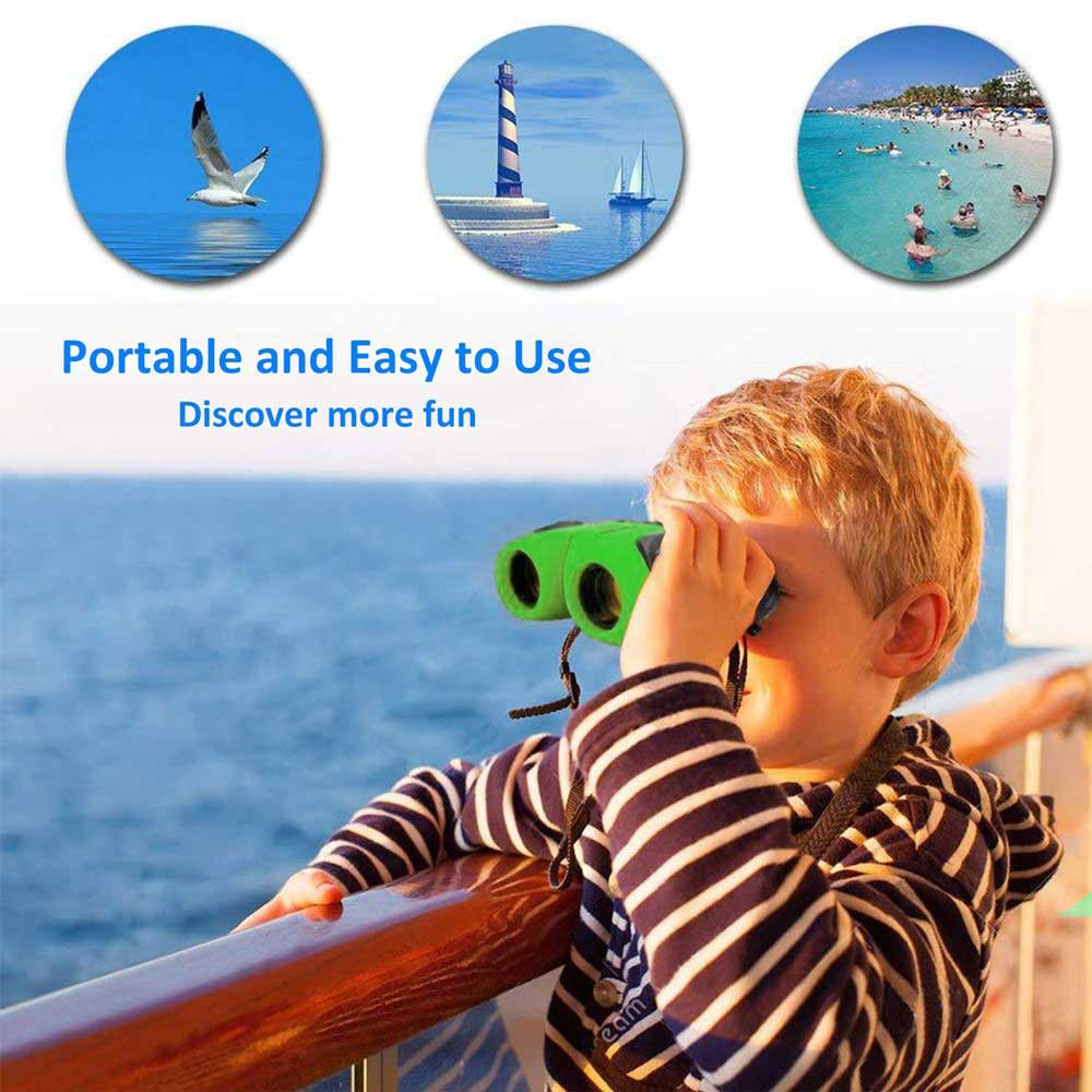 Compact Shock Proof Binoculars for Kids, Natural Exploration Outdoor Toys Binoculars 8X21 with Non-Slip Soft Handle for Bird Watching, Hiking, Traveling, Great Gifts for Boys and Girls Aged 3-12 Default