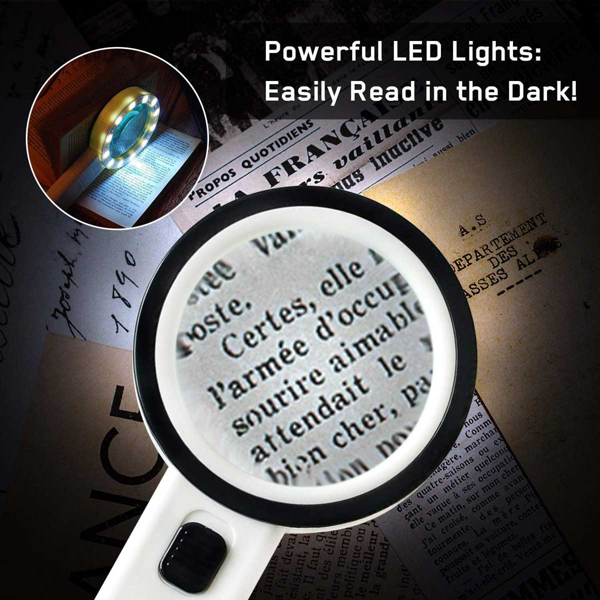 30X Portable Magnifying Glass Illuminated Magnifier Loupe Default