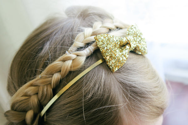 Girls' Glitter Bow Headband, Sparkle Glitter Hair Band- IN LOTS OF COLOURS