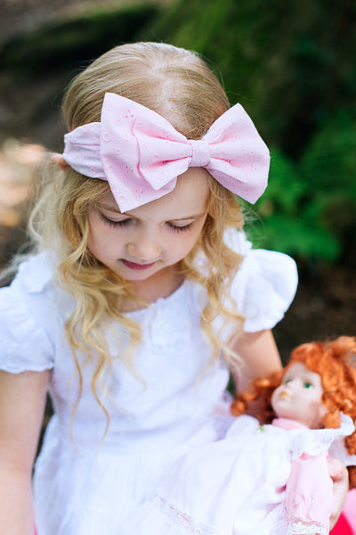 Baby Pink Broderie Anglaise Headband