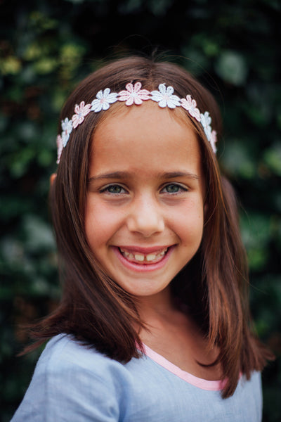 Little Girls White and Pink Daisy Headband