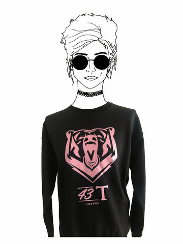 Black & Baby Pink Bear Jumper