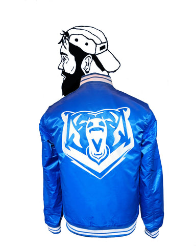 Blue Quilted College Bear Bomber - Jackets