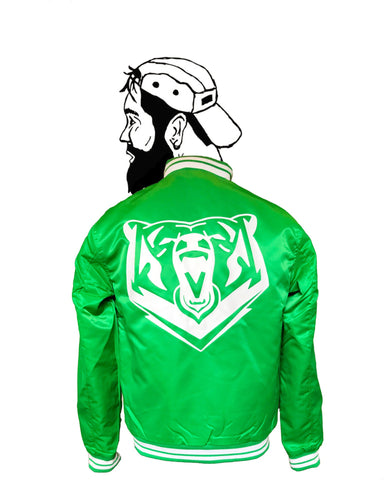 Green Quilted College Bear Bomber - Jackets