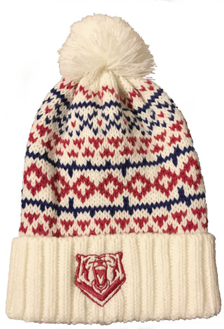 Creme, Red & Blue 43T Bobble Beanie Hat - Jackets