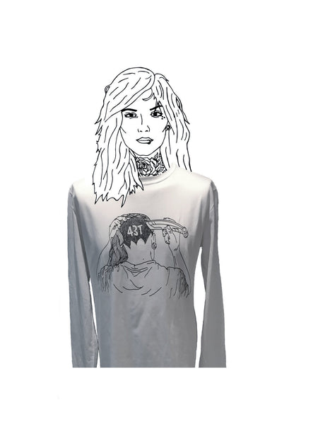 Shaved Head Girl Long Sleeved Tee - Jackets