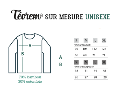 guide de taille hoodie teorem art