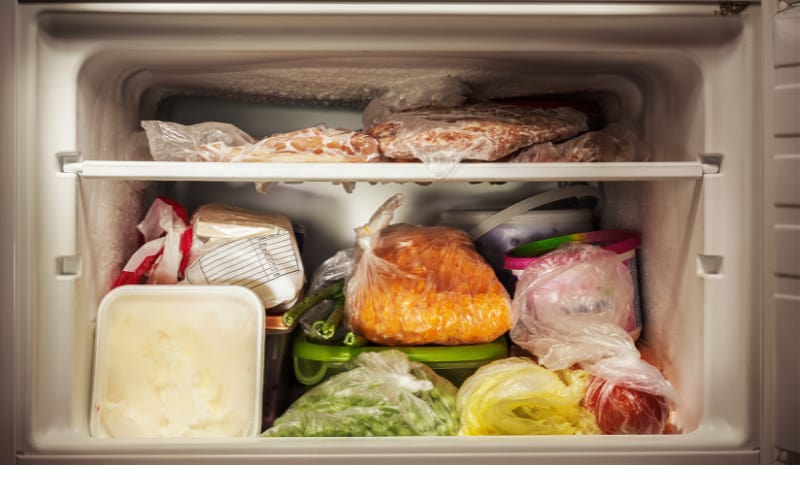 Freezer with frozen meat and other frozen goods