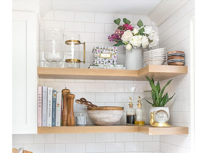 Install a Floating Corner Shelf for Kitchen Accessories