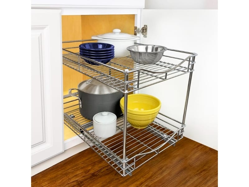 A Roll-Out Kitchen Drawer with Pots and Bowls