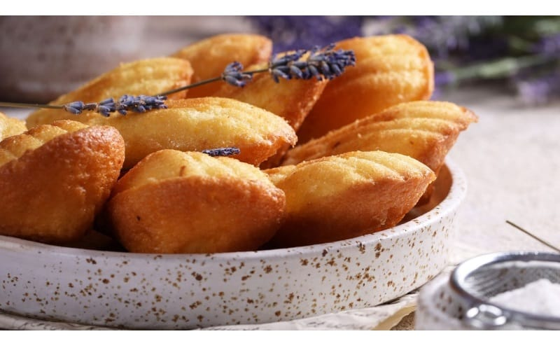 Madelines on a ceramic bowl