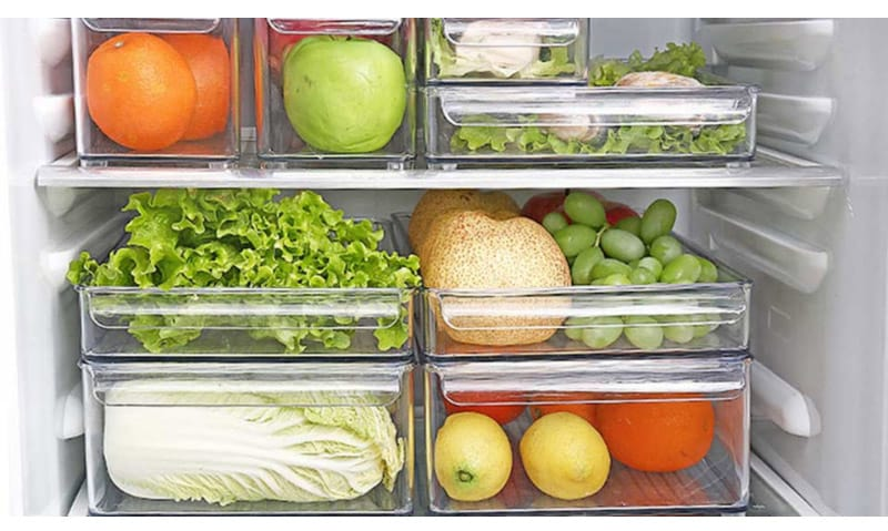 Fruits and Vegetables in Clear and Stacked Bins