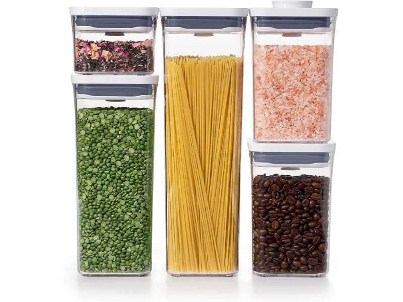 Dried Goods Stored In Long And Clear Containers