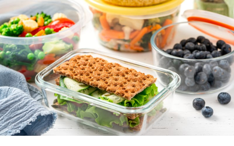 Salad inside clear food containers