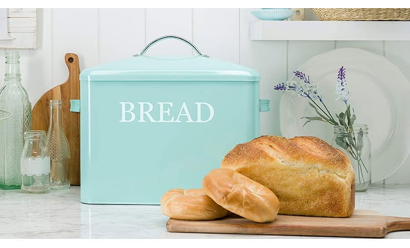 Teal-Colored Bread Box on A Kitchen Counter