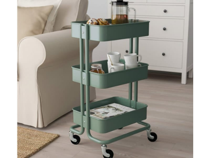 Coffee Cups and Tea Kettle in a Rolling Utility Cart
