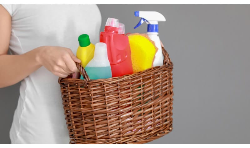 Cleaning Supplies in a Woven Basket