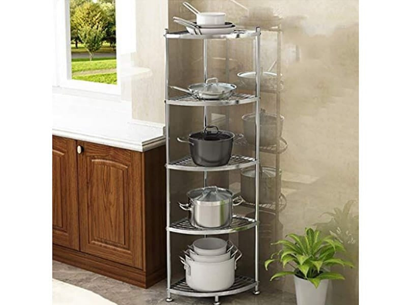 Pots and Pans Stored in a Vertical Rack