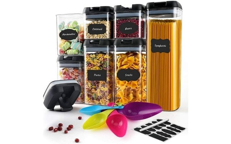 7PC Plastic Cereal Containers with Upgraded Durable Lids