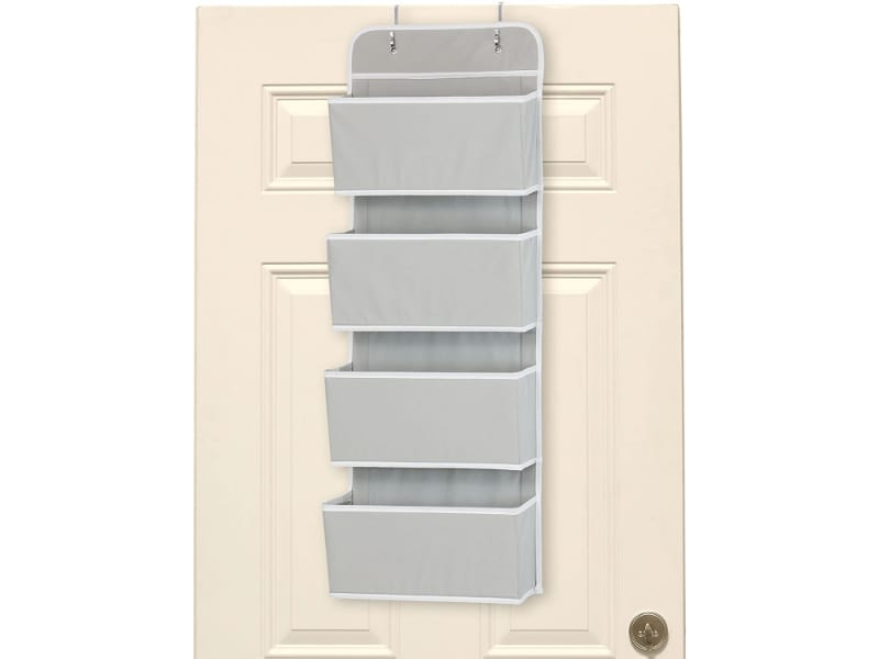 Simple Houseware Four-Pocket Over The Door Wall Mount Hanging Organizer