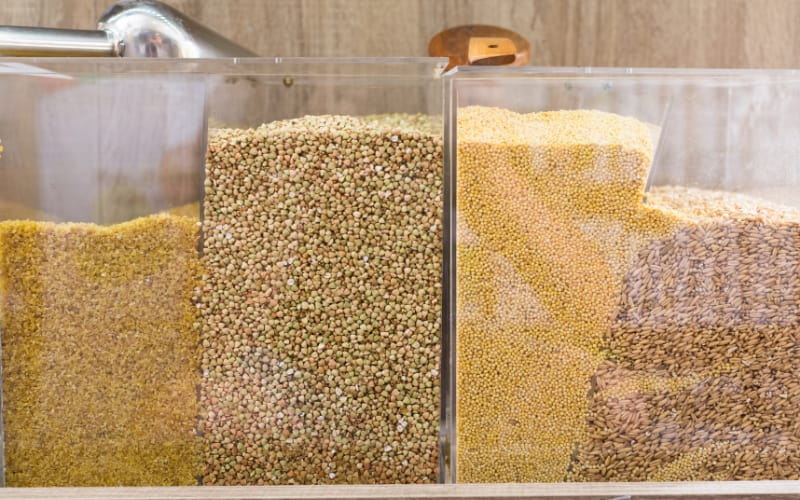 Soft grains stored inside clear containers