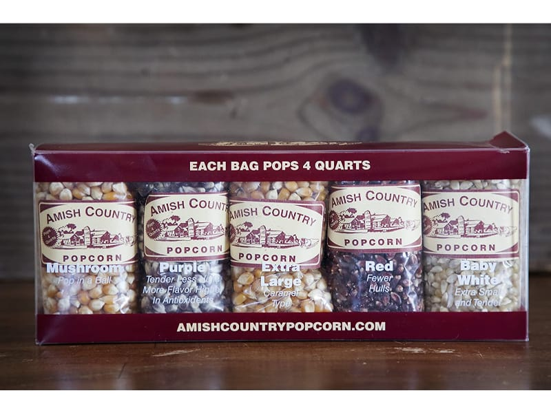 Amish Country Microwaveable Hulless Popcorn Kernels Variety Pack