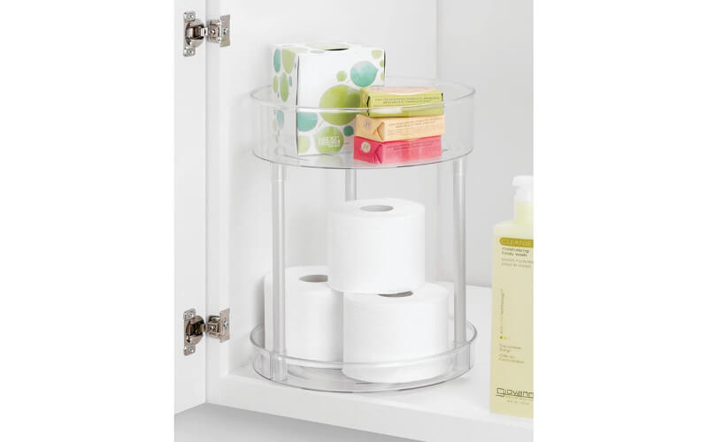 Lazy Susan With Toilet Paper and Soap Bars
