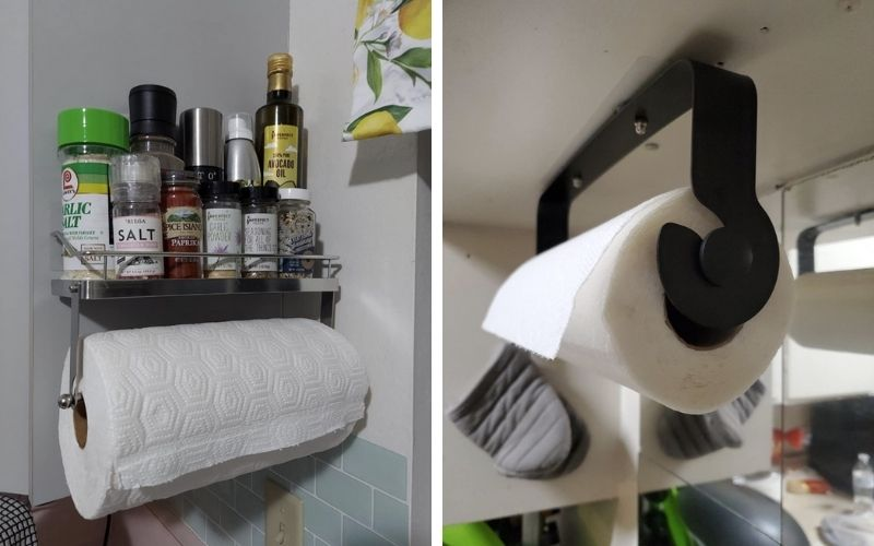 ODesign Paper Towel Holder with Shelf Adhesive Wall Mount