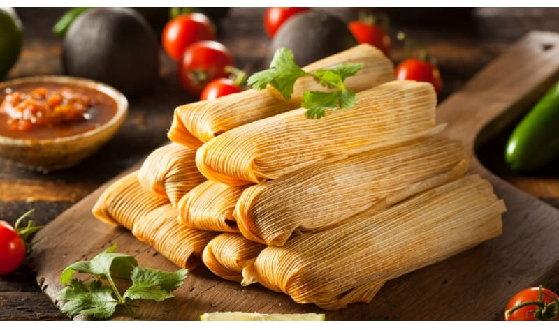 Chicken Tamales served on a platter
