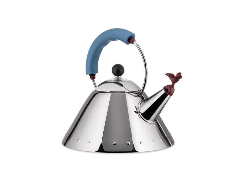 Alessi stainless steel tea kettle with a charming bird whistle on the spout