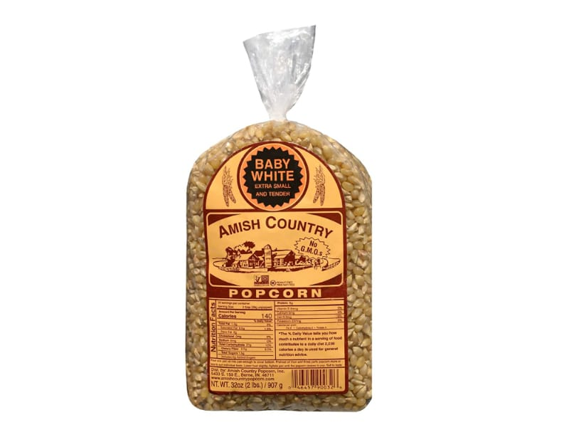 Amish Country Baby White Hulless Popcorn Kernels