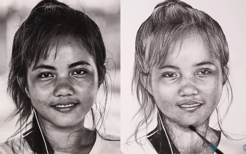 Charcoal portrait of a girl - Image by Kirtsy Patridge