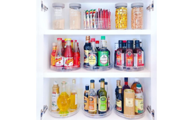 Condiments and Beers in Lazy Susans - Image by the Sun