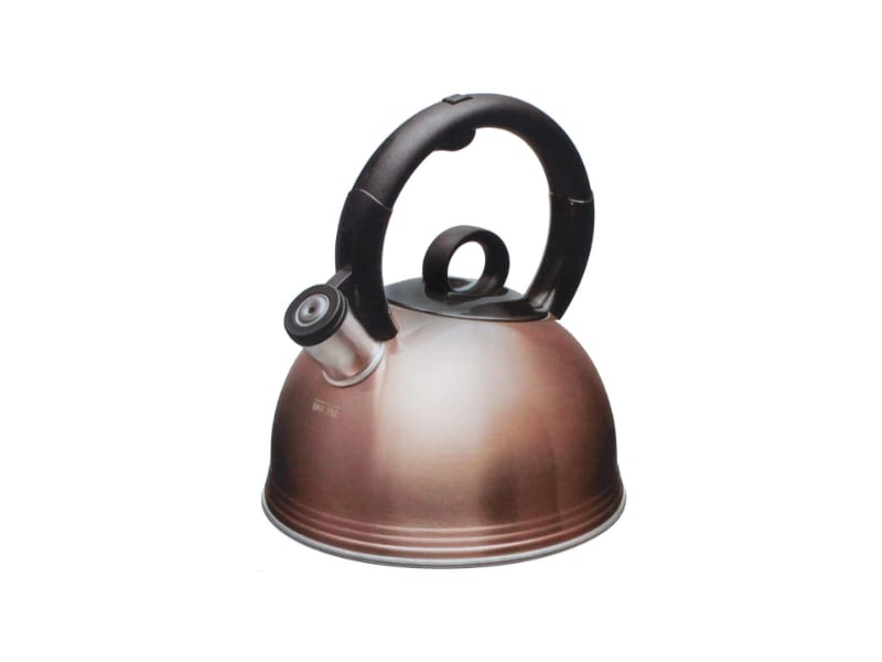 Copco copper-plated stainless steel kettle with a stay-cool ergonomic handle