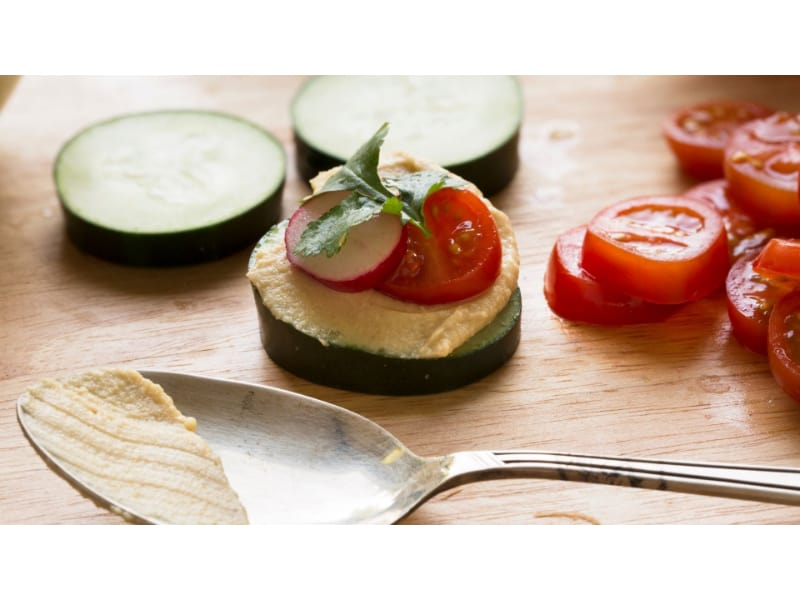 Cucumber Bites with tomatoes and spread