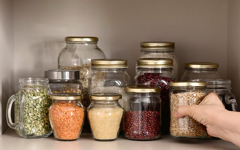 Dry foods in various jars and containers