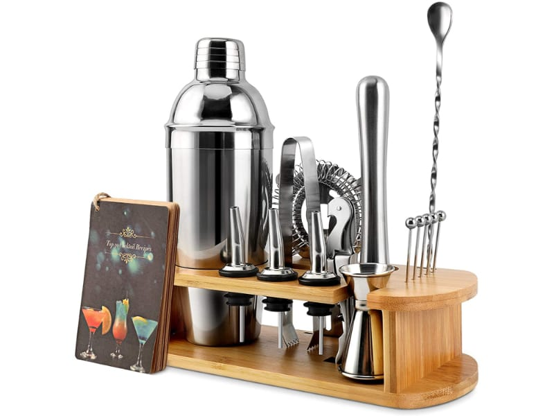 EPTISON 16-Piece Stainless Steel Bartender Kit with Stylish Bamboo Stand & Cocktail Recipes Booklet