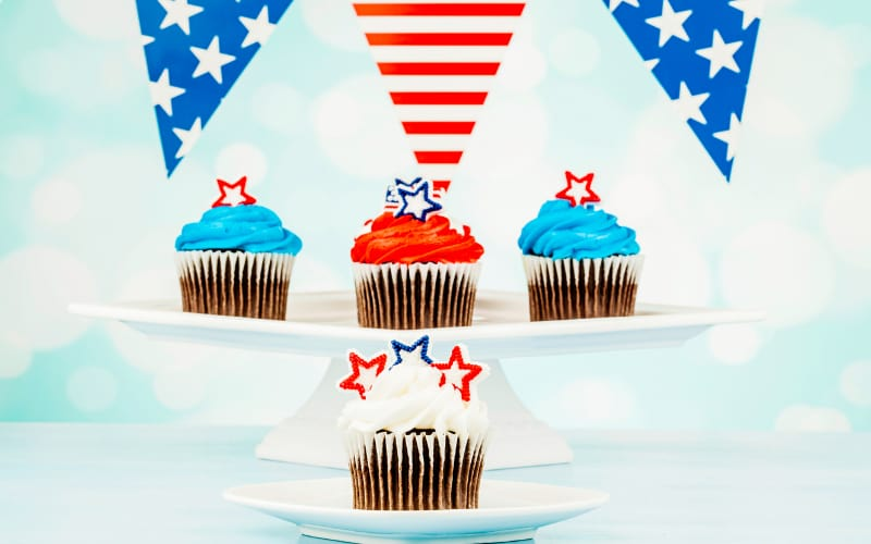 Fourth Of July Decorated Cupcakes